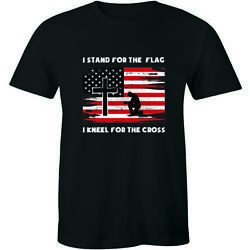 I Stand For The Flag I Kneel For The Cross Patriotic Christian Men#x27;s T Shirt Tee