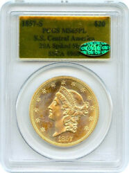 1857-S S.S CENTRAL AMERICA $20 GOLD(PROOF LIKE HIGHEST KNOWN GRADED)