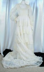 Vintage [original] 1940s Ivory With Floral Beads Lace Woman Wedding Dress