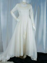 Vintage [original] 1940 Off-white With Floral Embroidered Woman Wedding Dress