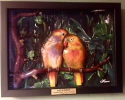 Hand Painted Hand Sculpted One of a Kind 3D Love Birds
