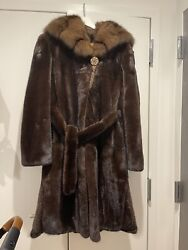 Women Mink Sable Hooded 💯 Real Luxury Fur Coat Size 0-2XS-S BLACKGLAMA QUALITY