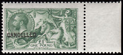 Sg403var 1912/ 13 Andpound1 Yellowish Green Deep Shade. Overprinted Cancelled Type ...