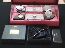 Limited Edition Lalique Crystal Writing Desk Set