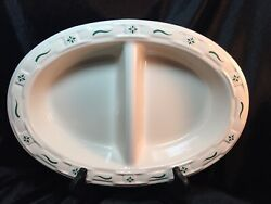 Longaberger Divided Vegetable Woven Traditions Heritage Green Dinnerware 13-3/4