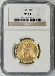 1926 Indian Head Eagle Gold 10 Ms 63 Ngc