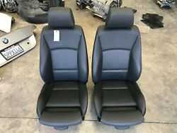 09 10 11 BMW E90 328I 335I FRONT LEFT RIGHT SPORT SEAT BLACK VINYL PAIR SEATS