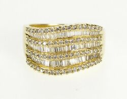 14K 1.50 Ctw Diamond Encrusted Wavy Band Ring Size 7.75 Yellow Gold *07