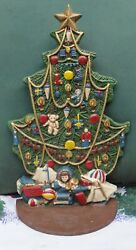 """Midwest Of Cannon Falls 11 ½"""" Tall Decorated Christmas Tree Cast Iron Doorstop G"""