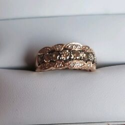 Levian 14kt Rose Gold Chocolate And White Diamond Ring