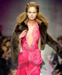 BREATHTAKING GIANNI VERSACE COUTURE HOT PINK SILK LACE EVENING GOWN 2000