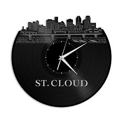 St Cloud Mn Vinyl Wall Clock Skyline Exclusive Design Gift Home Room Decoration