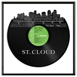 St Cloud Mn Vinyl Wall Art Record Cityscape Exclusive Gift Home Decor Framed