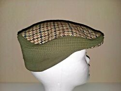 Vintage Mens Houndstooth Pattern Dunn And Co Peaky Blinder Hat Army Green Military