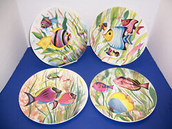 """St. Martin Tropical Fish 4 Dinner Plates 10.25"""" Email De Limoges S. Marino Nwt"""