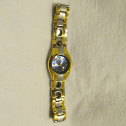 Ladies Alan Fried Quartz Gold And Silver Watch Blue Face Dial Works Needs Battery