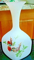 Vintage 1950and039s Large White Satin Opaque Glass Vase W/ Asiatic Pheasants