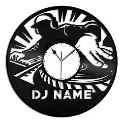 DJ Name Vinyl Wall Clock Best Gift for Friends Home Living Room Decoration