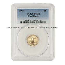 1994 5 American Gold Eagle Pcgs Ms70 1/10 Oz 22kt Coin Graded Modern Issue Coin