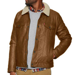Menand039s Faux Leather Lined Sherpa Collar Trucker - Brown Variations