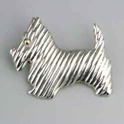 Vintage Mexican Large Socttish Terrier Scotty Dog Brooch Taxco Sterling Silver