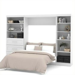 Bestar Pur 120 Full Wall Bed With 2 Piece 3 Drawer Storage Unit In White