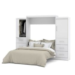 Bestar Nebula 115 Queen Wall Bed Kit With Two 3 Drawer Set In White