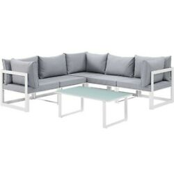 Modway Fortuna 6 Piece Outdoor Sofa Set In White And Gray