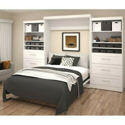 Bestar Pur 136 Queen Wall Bed With Storage In White