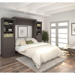 Bestar Pur 115 Queen Wall Bed With Storage And 3 Drawer Set In Bark Gray