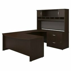 Series C 72w Right Hand Bow Front U Desk Set In Mocha Cherry - Engineered Wood