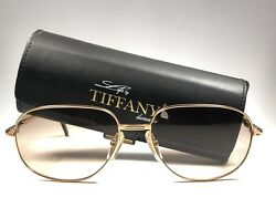 NEW VINTAGE TIFFANY T371 GOLD  PLATED 1980'S GOLD LIGHT BROWN LENSES SUNGLASSES