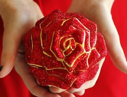 Judith Leiber Crystal Exquisite Rare Red Rose Bag Minaudiere Clutch