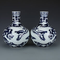 Chinese Old Pair Marked Blue And White Dragon Pattern Porcelain Vases