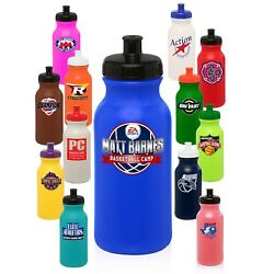 100 Personalized BPA Free 20 oz. Sports Water Bottles Printed W Logo or Message
