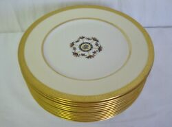 12 Lenox China Early 10 3/8 Dinner Plates 1830 X125a Enamelled Fruit Gold Ivory