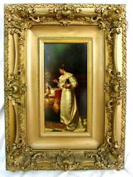 Antique Oil Painting Dog, Cat, Woman Scolding Dog Signed P. Duvall C.1875