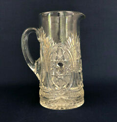 Duncan Glass Co. Edwardian Clear Pressed Glass Water Pitcher Starred Loop C.1900