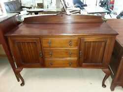 Antique English Queen Anne Mahogany Sideboard 3 Drawers 2 Doors W 53.5 D 21