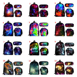 Galaxy Print Boys Girls School Backpack Unisex Laptop Rucksack Lunch Pencil Bag