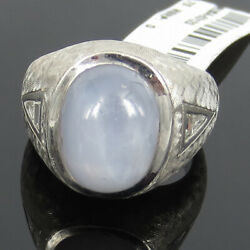 8.0ct Natural Untreated Star Sapphire And 0.30ct Diamond 14k White Gold Gypsy Ring