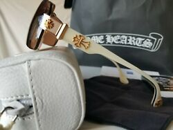 😎 NEW CHROME HEARTS GUMMER SUNGLASSES WHITE BONE & GOLD STUNNING BEST OFFER!!
