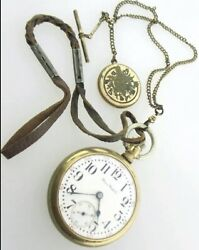 Rare 1915 Pocket Watch Model 6 With Chain, Fob, Locket, Leather Attachment Tick