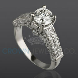 D Si2 Diamond Wedding Ring 2.1 Carat Solitaire With Accents 18k White Gold