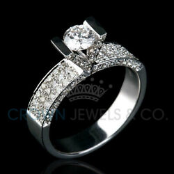 2.1 Carat Women Diamond Ring Solitaire With Accents Enhanced White Gold