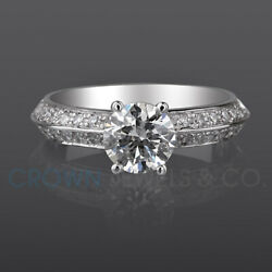 Accented Diamond Engagement Ring 1.35 Carat D Vs Round Cut White Gold