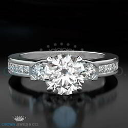 Wedding Diamond Ring F Vs2 Round Cut 1.55 Carat Solitaire With Accents