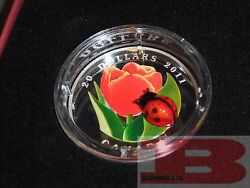 2011 Canadian Mint 20 Fine Silver Coin - Tulip With Ladybug