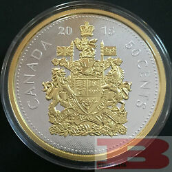 5 Oz. Fine Silver Gold-plated Coin – 2015 Big Coin Series 50-cent Coin Canada