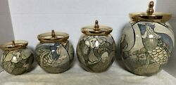 Mary Lou Higgins canister set 4 jars accented in gold